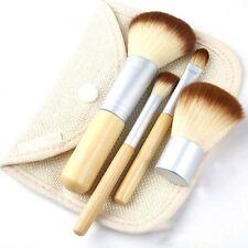 4x Women BAMBOO Pro Makeup Brush Set Chic W/ Cosmetic Bag Make Up Brushes Kit