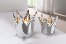 Teelichthalter Kerzenständer silber Deko 2er Set modern Krone edel