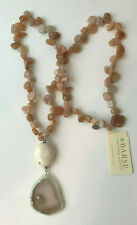Barse Brand Jodie M Peach Agate Beaded Staement Pendant Necklace