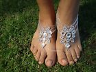 Silver colour ~ Shining Crystal barefoot sandals ~ anklet foot Beach Wedding