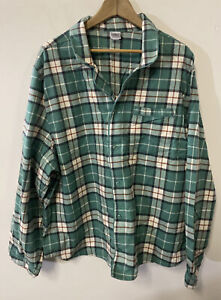 Hanna Andersson adult pajama Top Button Down XXL unisex Plaid Green & White