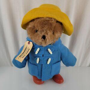 "VTG Paddington Bear Eden 20"" large stuffed animal plush 1975 Blue Red"