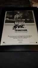 Zz Top Worldwide Texas Tour Rare Original Promo Poster Ad Framed!