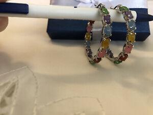 Burmese Multi Color Jade Inside Out Hoop Earrings 15.10ctw