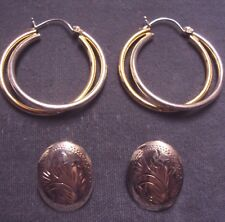 Etched Scroll/2 Tone Double Hoop Earring Lot 2 Pr Vintage Sterling Silver Oval
