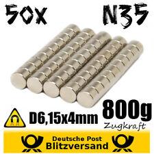 50x Neodym Magnet Scheibe D6,15x4 mm Zaubermagnete starke Minimagnete magnetisch