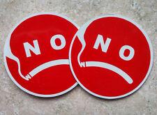 Unique NO SMOKING SIGNS - 2 piece set - Anti Smiley Face - Frendly Warning  Logo