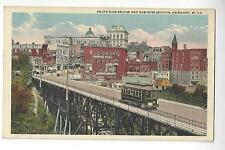 1920 Fairmont, West Virginia, South Side Bridge & Business Section with Trolley