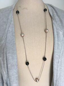 💖 David Sigal Damen-Halskette lang 925er Sterling-Silber schwarz 43 cm 💖
