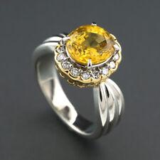 Ring gelber Saphir 3,405 ct + Brillanten 900-Platin / 750-Gelbgold massiv, 40664