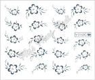 Nail Art Water Transfers Decals Stickers Wrap Metallic Silver/Gold Flowers Y010C