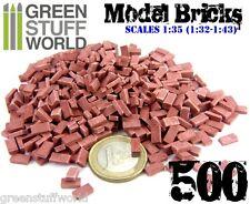 500x Ladrillos Cerámicos ROJOS - Escala 1/35 (1/32-1/43)  Modelismo Miniaturas