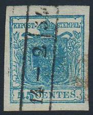 1851 stemma austro-ungarico in uno scudo, 45 C. azzurro - 12/3