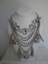 Statement  Necklace Rhinestone Tassel Silver tone