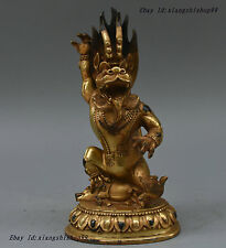 "9"" Tibetan Buddhism Bronze Gilt Yamantaka Yama Dharmaraja Buddha On Oxen Statue"