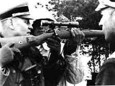 B&W Photo German Sniper w Officers  Mauser 98 WWII WW2 World War Two Wehrmacht