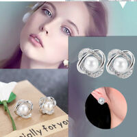 925 Silver Crystal Star White Pearl Ear Stud Earrings Women Wedding Jewelry Gift