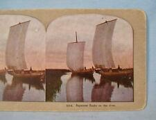 Stereoview Japanese Junks On The River Unknown Maker 1014 Color Boats Water (O)