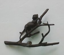 Vienna Bronze Miniature Cat on Tree Branch Figurine