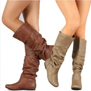 Womens Fashion Calf Slouch Boots Winter Wide Leg Flat Biker Shoes Bootie Size.