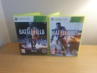 XBOX 360 - BATTFIELD GAME BUNDLE  - 3 & 4 - COMPLETE WITH MANUALS - FREE P&P