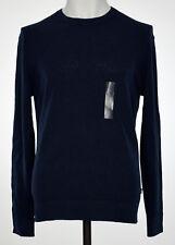 Michael Kors Mens Midnight Blue Textured Linen-Blend Crew Neck Sweater L