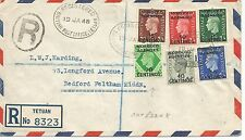 TETUAN REGISTERED TYPED COVER WITH KING GEORGE VI STAMPS INCLUDES 70c REF 397