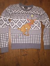 CARBON Ugly Christmas Sweater Reindeer Pooping Christmas Lights Gray & White S