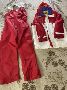 Sailing Boating Foul Weather Gear Jacket/Trousers size L Red and White Set