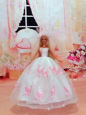 Neuf Vêtements  mariage robe de princesse pour  poupées Barbie + veil+gloves