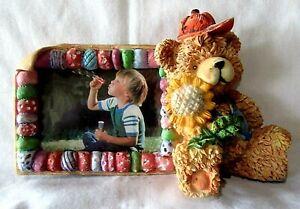 "Teddy Bear Photo Frame Vintage 1996 Heavy Ceramic for 3"" X 4"" Photo"