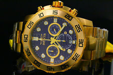 NEW Invicta Pro Diver 50MM Chrono 18K Gold Plated Blue Dial S.S Bracelet Watch