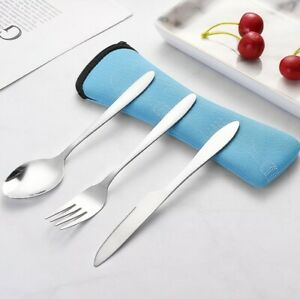 3X Stainless Steel Fork Spoon Chopsticks Travel Camping Tab Cutlery Tools Set