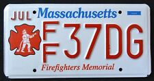 "MASSACHUSETTS "" FIREFIGHTER - FIRE FIGHTER ""  MA Specialty License Plate"