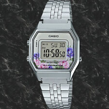 Casio LA680WA-4C Women Mid-Size Silver Digital Retro Vintage Watch FLORAL New