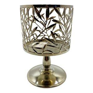 Bath & Body Works Silver Vine Leaf Pedestal Candle Holder For 3 Wick Candles