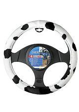 Genuine Sumex Furry Plush Car Steering Wheel Sleeve Cover - Black & White Cow