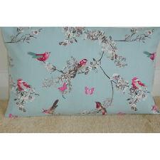 """16""""x12"""" Oblong Bolster Cushion Cover Pink Birds Butterflies Duck Egg Blue 12x16"""