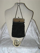 ANTIQUE ESTATE 20'S KNIT/ BEADED W/ FINGER RING PURSE W/ MIRROR KID SUEDE LINER