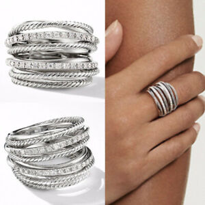 Infinity Jewelry 925 Silver Rings for Women Cubic Zirconia Party Gifts Size 6-10