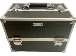 Frenessa Makeup Train Case 12 Inch Large Portable Cosmetic - 6 Tier Trays Box Up