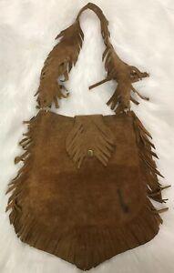 Vtg Rare Made Spain Artisan Leather Suede Indian Fringe Boho Purse Bag Festival