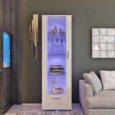 Modern Tall Display Cabinet Unit High Gloss White Glass Shelves Furniture 190cm