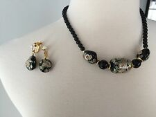 Black and Floral Earrings and Necklace set