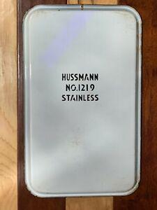 VINTAGE HUSSMANN 1219 WHITE ENAMEL PORCELAIN BLUE  REFRIGERATOR TRAY 20 *12.5