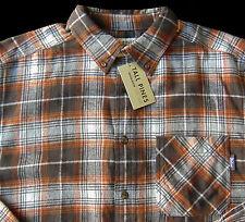 Men's TALL PINES WOOLRICH Brown Cream Plaid Flannel Cotton Shirt XXL 2XL NWT NEW