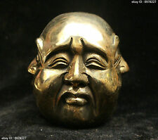 Chinese Buddhism Bronze Brass 4 surface Emotions Maitreya Buddha Head Statue