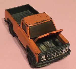 Vtg 1960s Orange Buddy L Metal Toy Ford Pickup Truck - Hood Opens - Hong Kong
