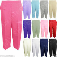 Straight Leg Polyester Capri, Cropped Trousers for Women