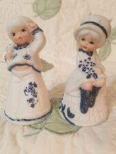 2 Vintage Jasco Royal Majestic Delft Blue Floral Porcelain Girl Bells 1980